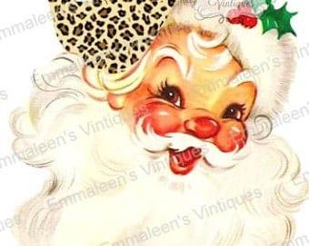 Vintage Shabby Retro Brown Leopard Cap Hat Santa Christmas Digital Download — Printable Ephemera