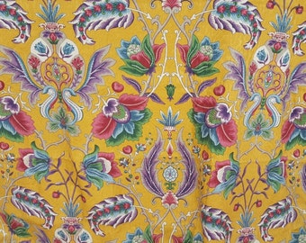 4 Yards Margin Designs Floral Drapery Upholstery Home Decor French Provincial Yellow Amber Gold Blue Red
