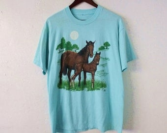 XLARGE Vintage 1990s Horses Soft and Thin Graphic T-Shirt