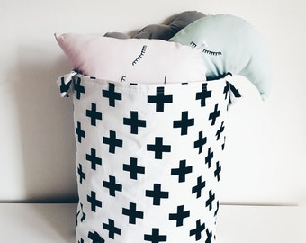 Fabric storage basket.Laundry basket,toy storage, black swiss cross on white background.Monochrome.Nursery decor, kids room.FREE UK DELIVERY