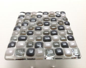 Gray, Mosaic, Fused Glass, Night Light, Nursery, Bathroom, Plug In