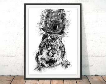 Squirrel Art Print Squirrel Wall Art Charcoal Illustration Squirrel Black and White Home Decor Squirrel Wall Hanging Animal Print by Bex