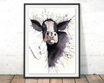 Cow Print, Cow Illustration, Cow Wall Art, Farmyard Print, Farm Animal, Cow Poster, Cow Painting by Katherine Williams