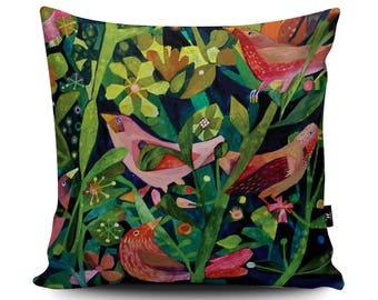 Three Pink Birds Cushion, Pink Birds Garden Pillow, Green Floral Cushion, Bird Bedding, Forest Bird Cushion by Este MacLeod