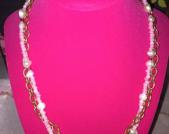 Pearl Jewelry SomethingXquisite Necklace Double Strand Brass Chain Ladies Fashion Piece Custom HandMade