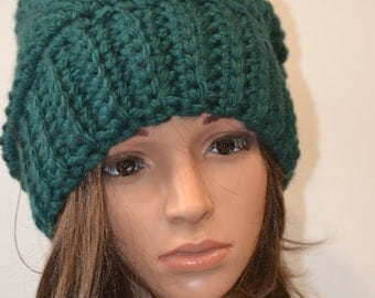 Slouchy Hat, Hand Crocheted Beanie, Green Winter Hat, Winter Accesory