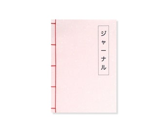 A5 Notebook - Japanese Stab Binding, Pink, Grid Notebook / Lined Notebook / Blank Pages, Stationery, Bucket List Journal