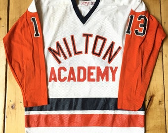 Rare Vintage 1960s 70s Milton Academy Orange and White High School Mesh Hockey Jersey - Milton, MA - Size 46 - Fits Adult Large