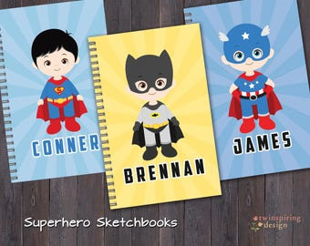 Sketch Books for Kids - 6 Superhero Designs to Choose From! Personalized Sketch Book Gift