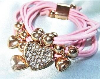 Bracelet pink gold bracelet Bangle Bracelet with heart