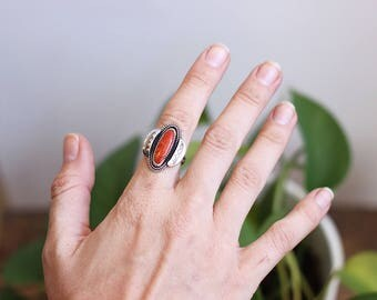 Apple Coral Sterling Silver Ring // Stamped // Southwest // READY TO SHIP // Size 7.5