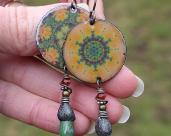 Kaleidoscope Enameled Artisan Earrings created by Angela Gruenke of Contents Jewelry
