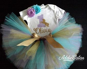 Personalized Unicorn First Birthday Outfit! Lavender, Aqua & Gold Onesie, Tutu and Headband Set!