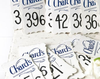 "Shield shaped ""Chard's"" vintage shop price tag"