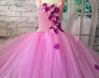 pink and purple flower girl dress, pink petal dress, pink flower girl dress, pink and purple tutu, tutu flower girl dress, petal tutu dress