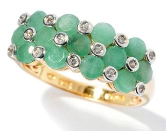 18K Yellow Gold Over Silver 1.67ctw Sakota Emerald Cluster Ring SZ 6,7,8,9,10,11