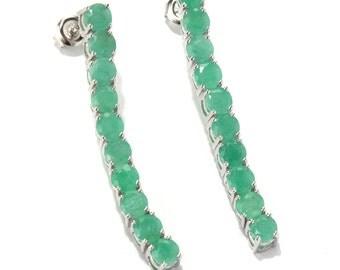 "Platinum o/ Silver 6.42ctw Sakota Emerald Drop & Dangle Earring 1.62""L"
