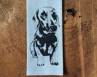 Dachound Weiner Dog Screen Printed  100% Natural Linen Tea Towel, Hostess  Gift