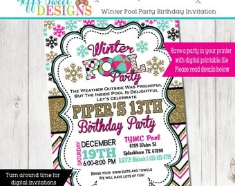 Winter Pool Party Invitation - Winter Indoor Pool  Party - Girls Pool Party