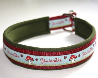 "Dog collar ""Lucky blue"", olive green bordeaux, made to measure, collar dog"