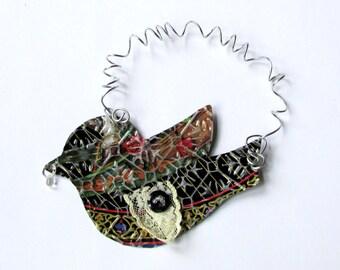 Black Bird Ornament - Metal Bird - Bird Wall Decor - Bird Decoration - Recycled Metal Ornament - Eco Friendly Ornament