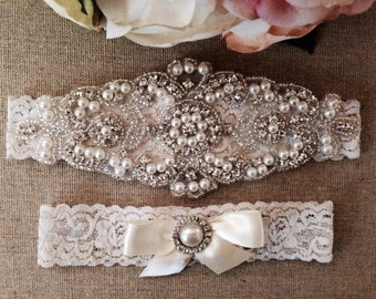 Wedding Garter - Bridal Garter - Pearl and Crystal Rhinestone Garter and Toss Garter Set