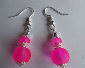 Neon pink frosted glass drop earrings