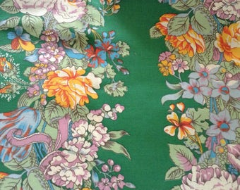 "Vintage floral cotton fabric,36"" x84"" approx size, roses, tulips"