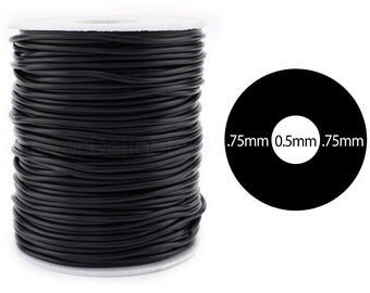 """10 Ft - Black Rubber Cord - 2mm (1/16"""") - Hollow Rubber Tubing - 1/16"""" OD x 1/64"""" ID - For Beading, Jewelry, Repairs - Premium Rubber Tube"""
