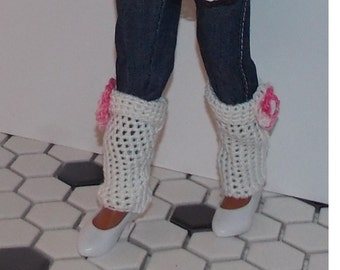 LEG WARMERS ONLY - Crocheted  Leg Warmers with Pink Flower Accents. Handmade Lammily Clothes. Does not fit Barbie sized dolls. Easter