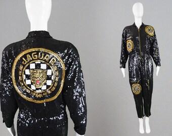 Vintage 80s JEANETTE KASTENBERG Sequin Jumpsuit Designer Beaded Boiler Suit Party Outfit Black & Gold Embellished Catsuit Avant Garde
