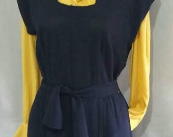 1940s style blue jumper dress pockets belt waist 80 cm