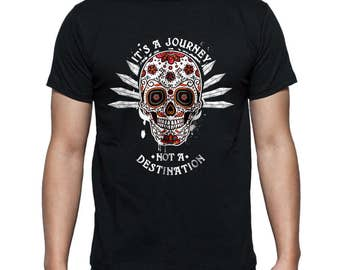 """Men's """"It's A Journey Not A Destination"""" Anvil Lightweight T-Shirt - Recovery Skull!12 Step Recovery Gift Sober Clothing Sobriety"""