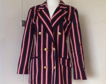 Vintage mod style double breasted striped boating jacket / blazer UK size 12