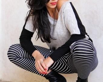 Woman's Stripes Leggings, Warm Sexy leggings, Bohemian tights, Black & White Boho Winter leggings, Flattering Urban Leggings, Woman Wear