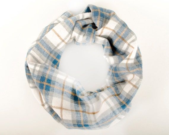 Brushed cotton baby infinity scarf, Blue plaid winter baby scarf, Warm flannel toddler scarf, Teething baby, Blue and dark orange baby cowl