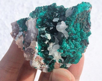RESERVED for John M: Dioptase Rare Emerald Green Crystals Flowing White Calcite on Matrix Self-Standing Large Cluster Namibia Mineral Specim