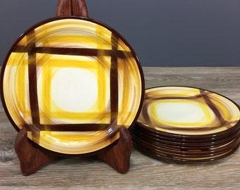 Vernonware Organdie Bread Plates, Set of EIGHT, Yellow Plaid Pattern, Vintage California Pottery