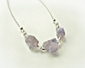 "Lavender Raw Stone Necklace, Raw Quartz Necklace, Titanium Quartz Necklace, Lavender Stone Necklace, Lavender Necklace, ""Reverie Necklace"""