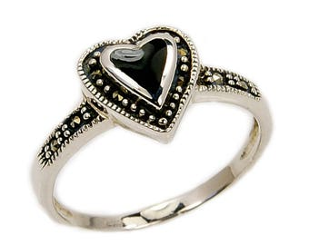 Queen of Hearts Black Onyx, Marcasite & .925 Sterling Silver Heart Ring, Size 7 1/2, 4 1/4, 5 1/2, 6 1/2  ; Q150, AB890, Q158, Q214