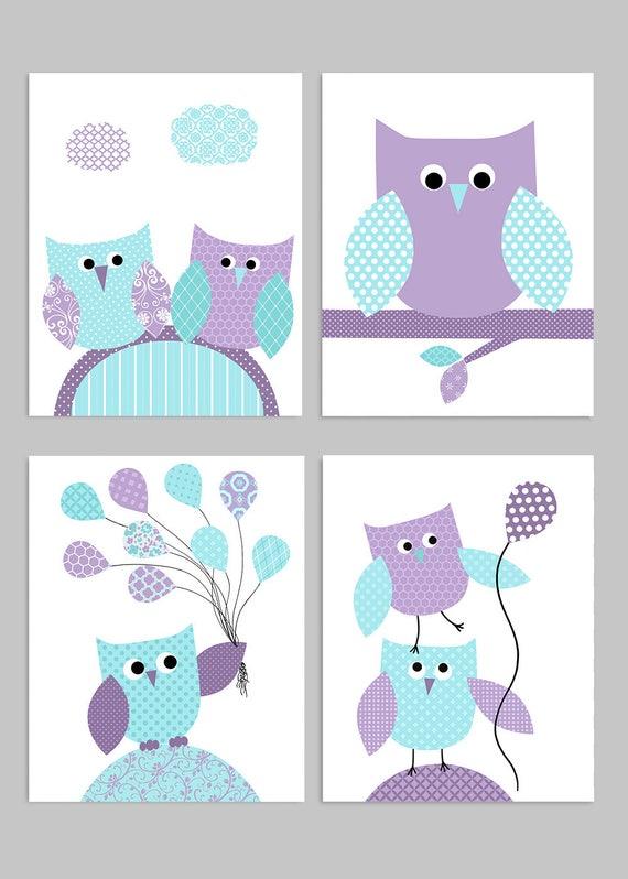 Owl Nursery Decor Aqua And Purple Baby Girl Room Decor Owl