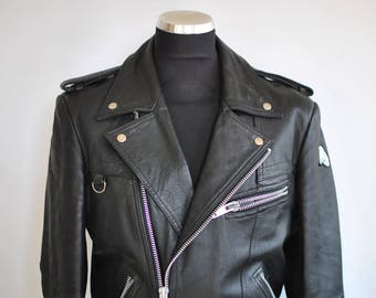 Vintage KRAWEHL LEATHER JACKET , men's biker jacket ........(338)