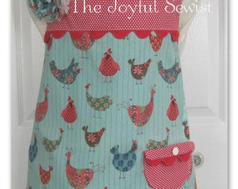 Apron,Full Style Apron,  Fully Lined, All Cotton Chicken Style Fabric, Handmade, Vintage Style,Blue, Green,Red