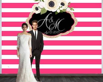 Wedding Photo Backdrop, Custom Wedding Party Backdrop, Printed Personalized Wedding Backdrop, Pink and White Stripes Photo Booth Backdrop