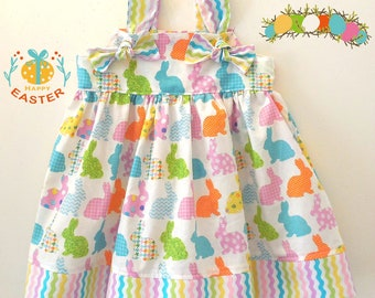 Girls Toddler Baby Girls Easter Bunny Easter Eggs Knot Dress Sizes 6-12 Months through 6