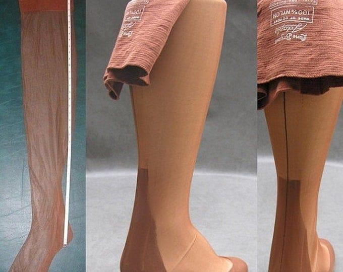 "30% OFF Seamed Nylon Stockings 3 Pair Vtg Lane Bryant Sz 11 Outsize 36"" X Long Plus Size Nylons Rockabilly Pin Up WWII Era"
