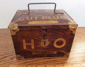 Antique H-O  Cut Plug Tobacco Lunch Pail Tin