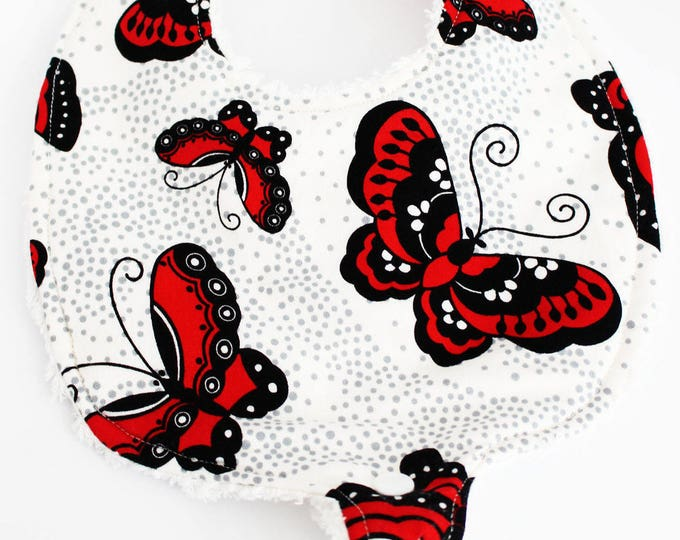 Featured listing image: Red and Black Butterfly Binky Bib ~ Baby Girl ~ Baby Shower Gift