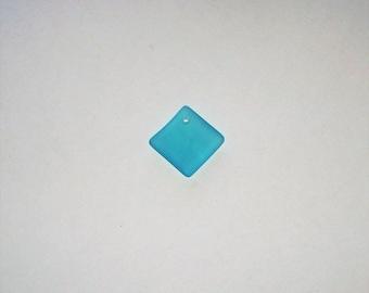 "Cultured Turquoise Bay ""Sea Glass""  Diamond Square Pendant - 18MM"