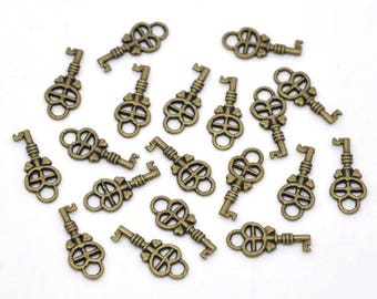10 Small Bronze Heart Key Charms